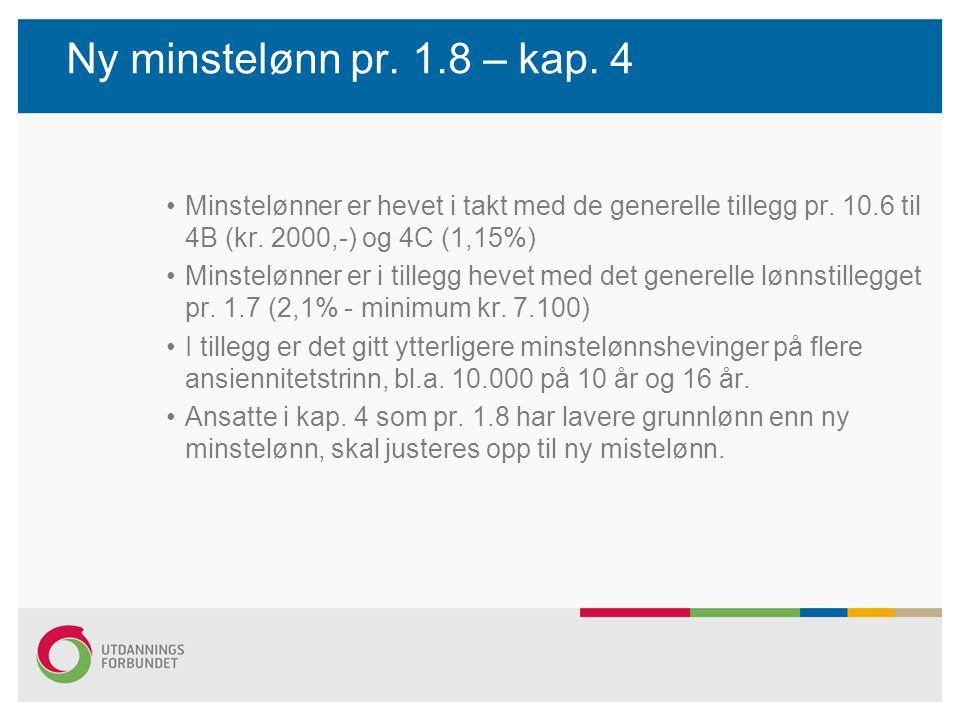 Ny minstelønn pr. 1.8 – kap. 4 Minstelønner er hevet i takt med de generelle tillegg pr. 10.6 til 4B (kr. 2000,-) og 4C (1,15%) Minstelønner er i till