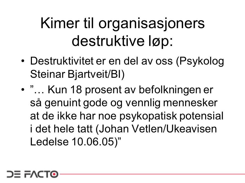 """Kimer til organisasjoners destruktive løp: Destruktivitet er en del av oss (Psykolog Steinar Bjartveit/BI) """"… Kun 18 prosent av befolkningen er så gen"""