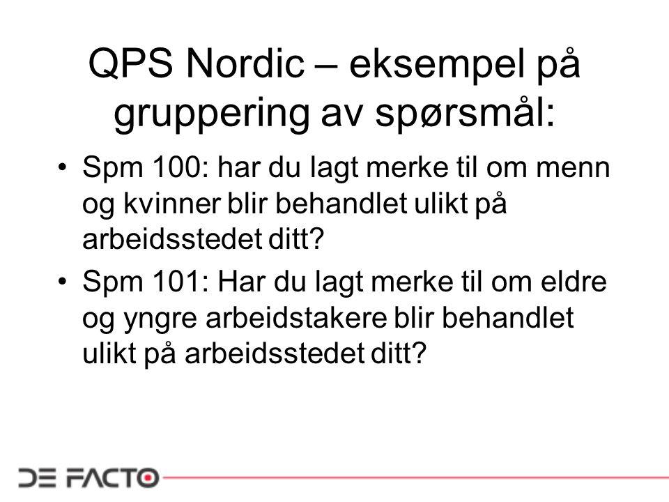 QPS Nordic – eksempel på gruppering av spørsmål: Spm 100: har du lagt merke til om menn og kvinner blir behandlet ulikt på arbeidsstedet ditt? Spm 101