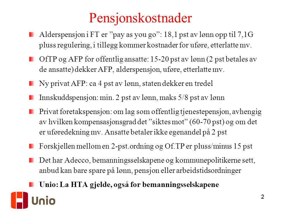 22 Pensjonskostnader Alderspensjon i FT er pay as you go : 18,1 pst av lønn opp til 7,1G pluss regulering, i tillegg kommer kostnader for uføre, etterlatte mv.