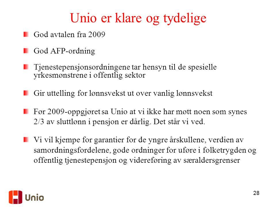28 Unio er klare og tydelige God avtalen fra 2009 God AFP-ordning Tjenestepensjonsordningene tar hensyn til de spesielle yrkesmønstrene i offentlig sektor Gir uttelling for lønnsvekst ut over vanlig lønnsvekst Før 2009-oppgjøret sa Unio at vi ikke har møtt noen som synes 2/3 av sluttlønn i pensjon er dårlig.