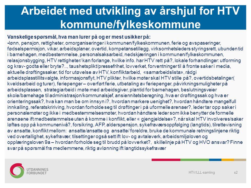 Arbeidet med utvikling av årshjul for HTV kommune/fylkeskommune HTV/LLL-samlings3 HTV rolle/ ansvar i forhold til ATV: Støttespiller for ATV (arbeidsplasstillitsvalgt) Arrangere regelmessige møter Skolere og informere ATV Veilede/bistå i personalsaker