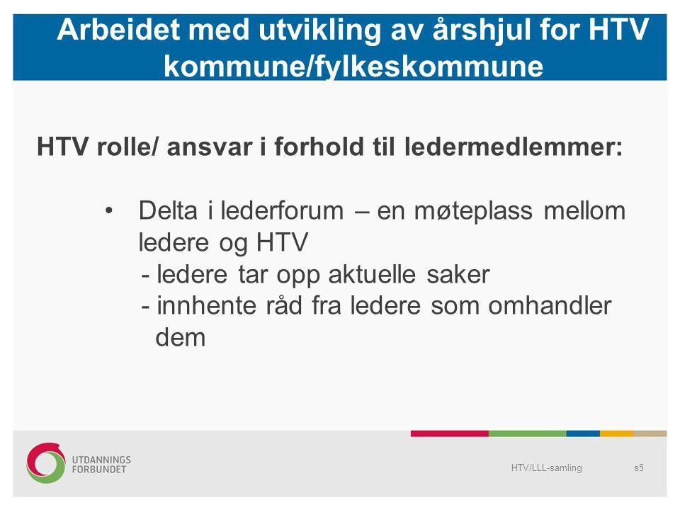 Arbeidet med utvikling av årshjul for HTV kommune/fylkeskommune HTV/LLL-samlings5 HTV rolle/ ansvar i forhold til ledermedlemmer: Delta i lederforum –