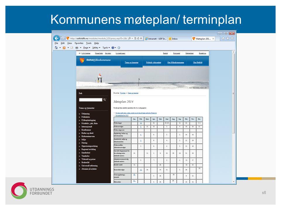 Kommunens møteplan/ terminplan Tittelen endres i Topp- og Bunntekst... s9