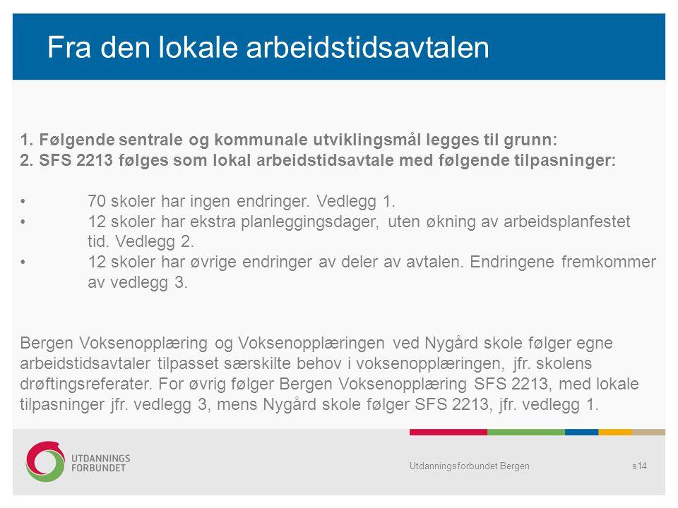 Utdanningsforbundet Bergens14 Fra den lokale arbeidstidsavtalen 1. Følgende sentrale og kommunale utviklingsmål legges til grunn: 2. SFS 2213 følges s