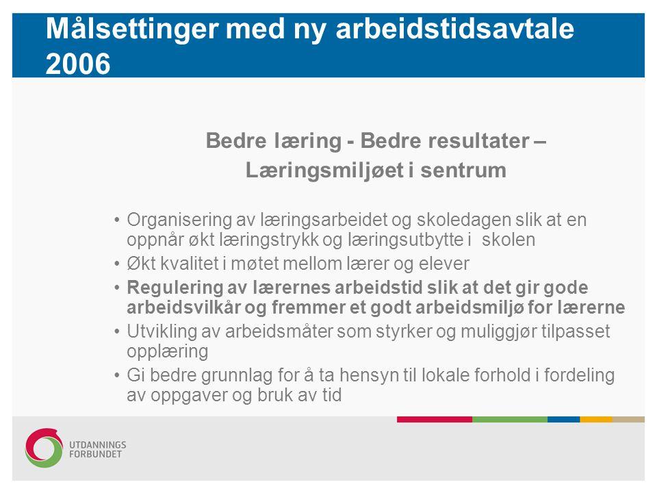 Målsettinger med ny arbeidstidsavtale 2006 Bedre læring - Bedre resultater – Læringsmiljøet i sentrum Organisering av læringsarbeidet og skoledagen sl