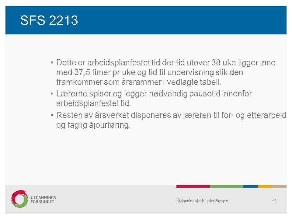 SFS 2213 Dette er arbeidsplanfestet tid der tid utover 38 uke ligger inne med 37,5 timer pr uke og tid til undervisning slik den framkommer som årsrammer i vedlagte tabell.
