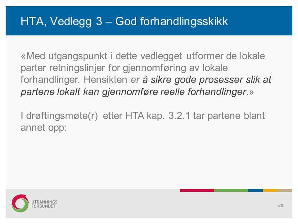 HTA, Vedlegg 3 – God forhandlingsskikk s10 «Med utgangspunkt i dette vedlegget utformer de lokale parter retningslinjer for gjennomføring av lokale fo