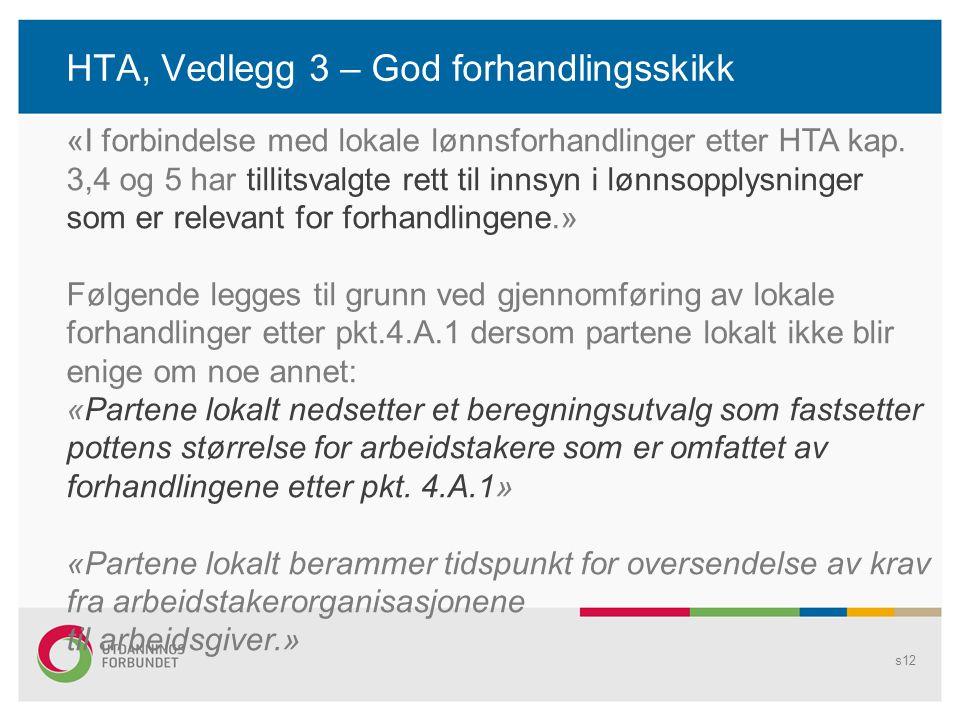 HTA, Vedlegg 3 – God forhandlingsskikk s12 «I forbindelse med lokale lønnsforhandlinger etter HTA kap. 3,4 og 5 har tillitsvalgte rett til innsyn i lø