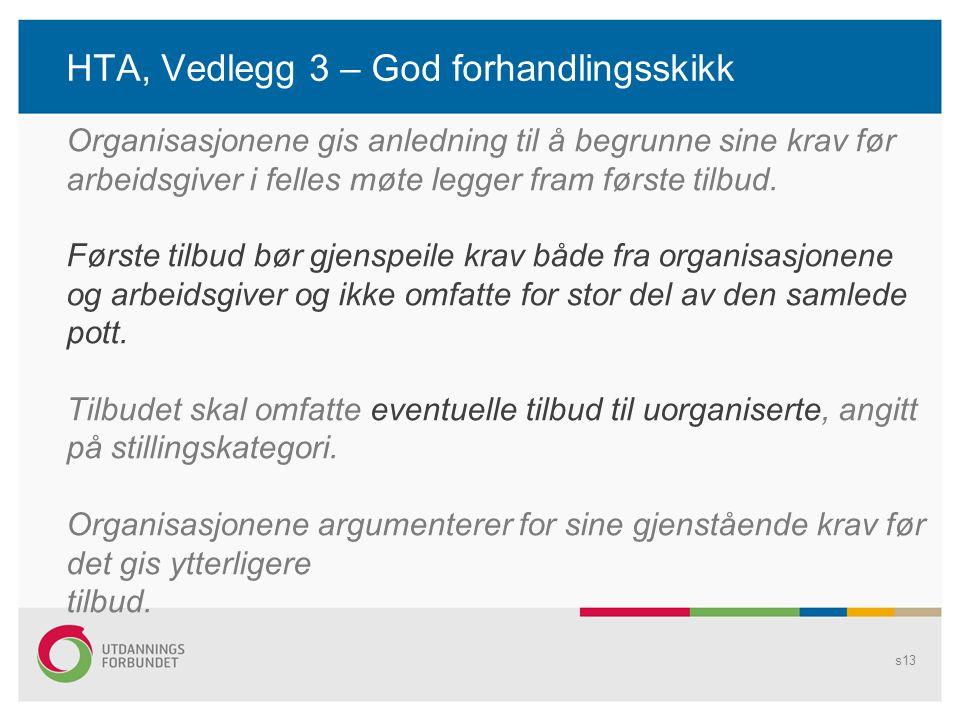 HTA, Vedlegg 3 – God forhandlingsskikk s13 Organisasjonene gis anledning til å begrunne sine krav før arbeidsgiver i felles møte legger fram første tilbud.