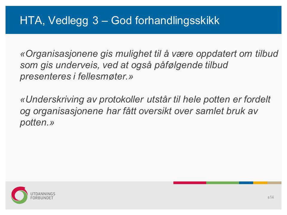 HTA, Vedlegg 3 – God forhandlingsskikk s14 «Organisasjonene gis mulighet til å være oppdatert om tilbud som gis underveis, ved at også påfølgende tilb