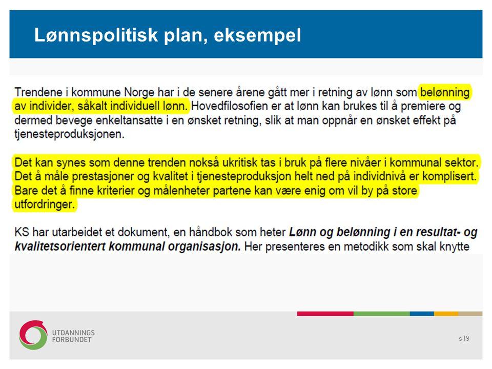 Lønnspolitisk plan, eksempel s19