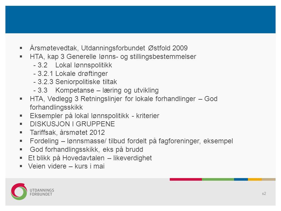 s2  Årsmøtevedtak, Utdanningsforbundet Østfold 2009  HTA, kap 3 Generelle lønns- og stillingsbestemmelser - 3.2 Lokal lønnspolitikk - 3.2.1 Lokale drøftinger - 3.2.3 Seniorpolitiske tiltak - 3.3 Kompetanse – læring og utvikling  HTA, Vedlegg 3 Retningslinjer for lokale forhandlinger – God forhandlingsskikk  Eksempler på lokal lønnspolitikk - kriterier  DISKUSJON I GRUPPENE  Tariffsak, årsmøtet 2012  Fordeling – lønnsmasse/ tilbud fordelt på fagforeninger, eksempel  God forhandlingsskikk, eks på brudd  Et blikk på Hovedavtalen – likeverdighet  Veien videre – kurs i mai