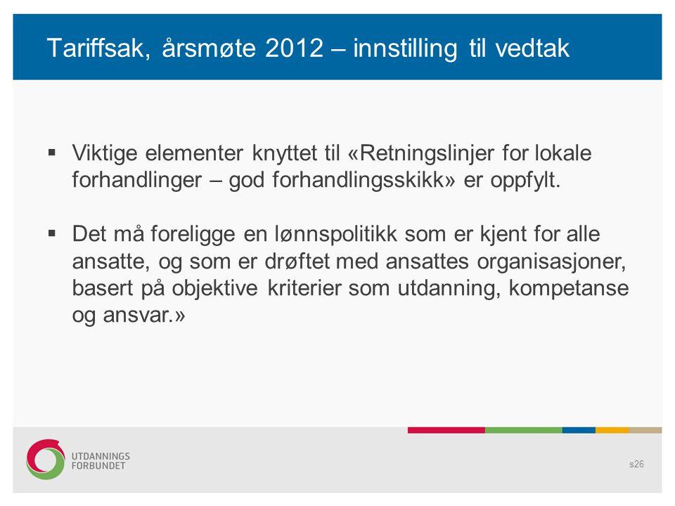 Tariffsak, årsmøte 2012 – innstilling til vedtak s26  Viktige elementer knyttet til «Retningslinjer for lokale forhandlinger – god forhandlingsskikk» er oppfylt.