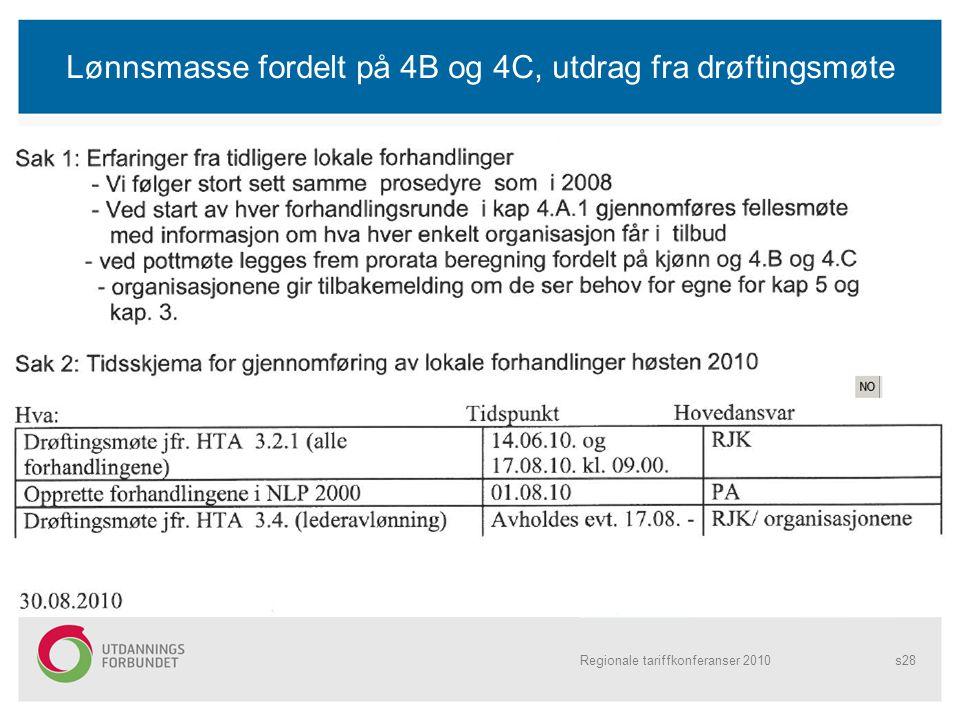 Lønnsmasse fordelt på 4B og 4C, utdrag fra drøftingsmøte Regionale tariffkonferanser 2010s28