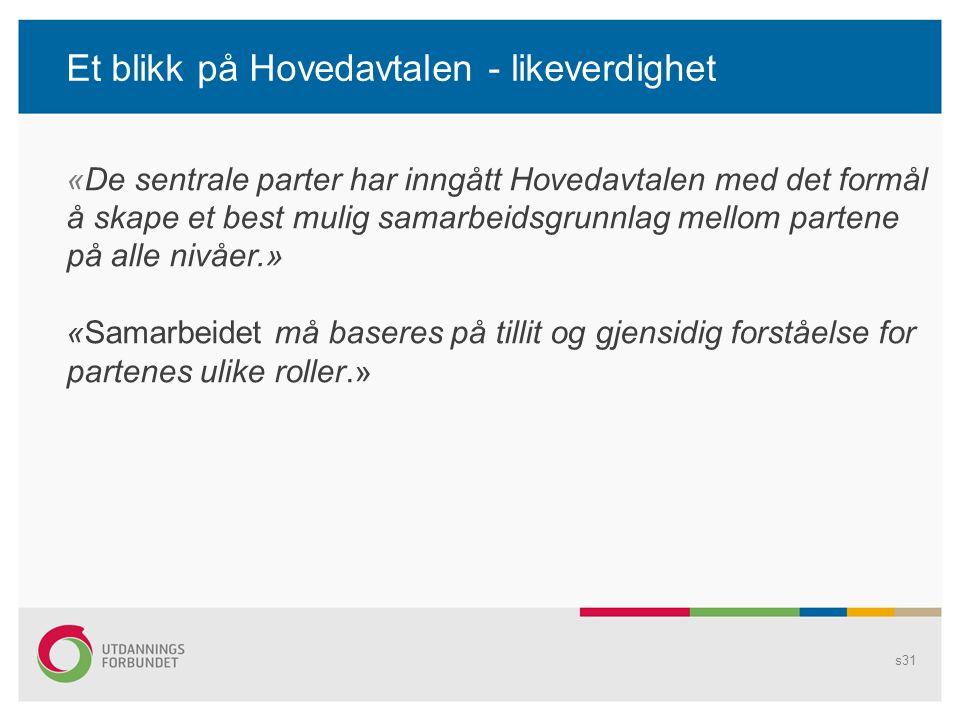 Et blikk på Hovedavtalen - likeverdighet s31 «De sentrale parter har inngått Hovedavtalen med det formål å skape et best mulig samarbeidsgrunnlag mellom partene på alle nivåer.» «Samarbeidet må baseres på tillit og gjensidig forståelse for partenes ulike roller.»