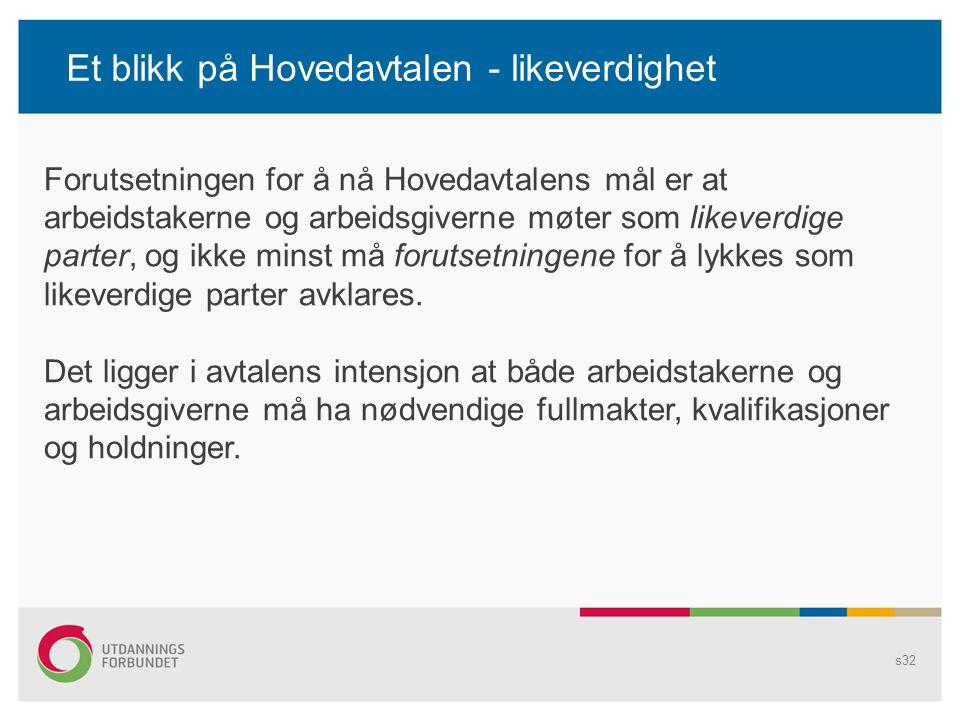 Et blikk på Hovedavtalen - likeverdighet s32 Forutsetningen for å nå Hovedavtalens mål er at arbeidstakerne og arbeidsgiverne møter som likeverdige parter, og ikke minst må forutsetningene for å lykkes som likeverdige parter avklares.