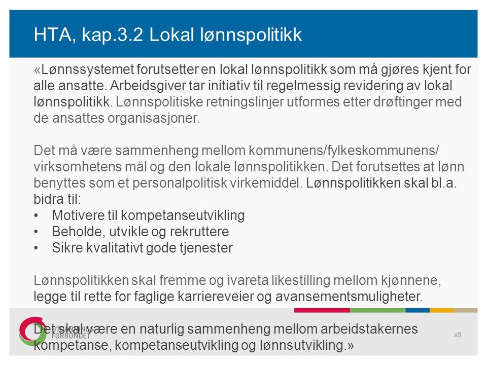 HTA, kap.3.2 Lokal lønnspolitikk s5 «Lønnssystemet forutsetter en lokal lønnspolitikk som må gjøres kjent for alle ansatte. Arbeidsgiver tar initiativ