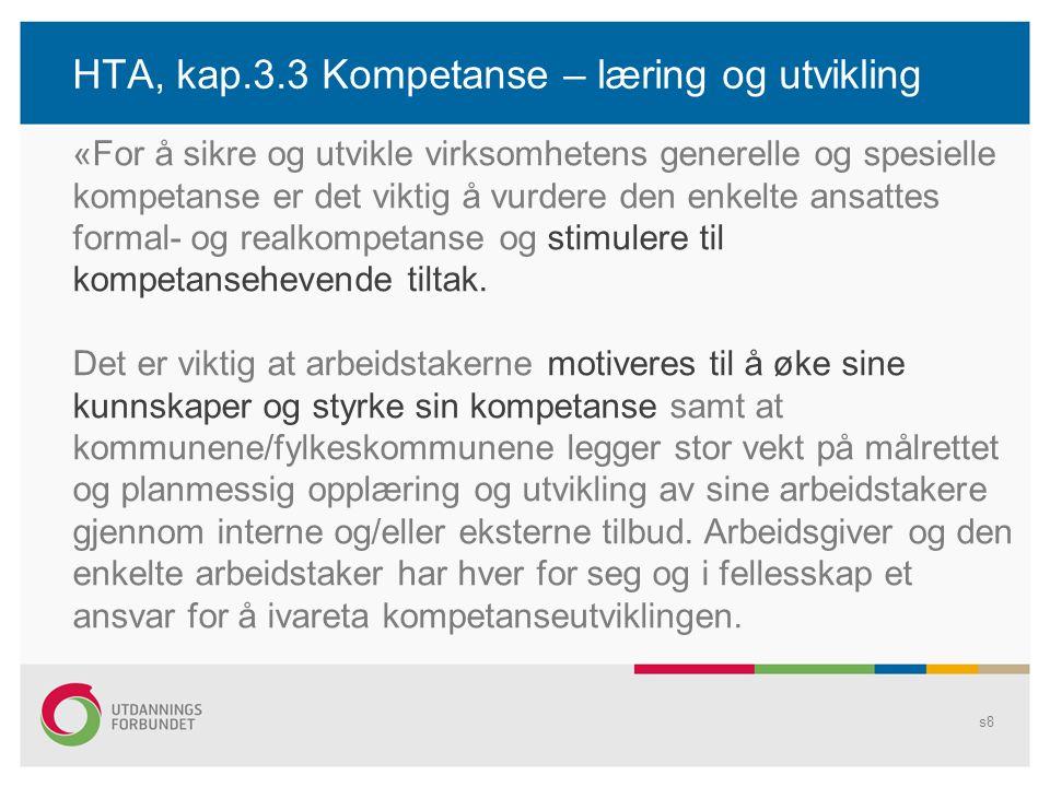 HTA, kap.3.3 Kompetanse – læring og utvikling s8 «For å sikre og utvikle virksomhetens generelle og spesielle kompetanse er det viktig å vurdere den e