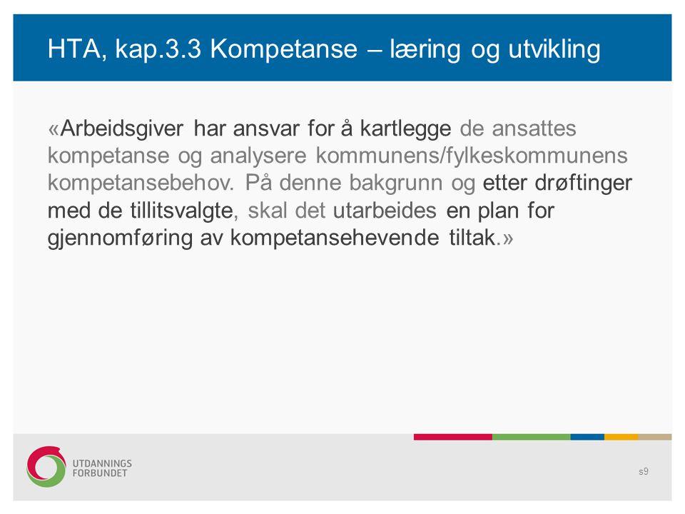 HTA, kap.3.3 Kompetanse – læring og utvikling s9 «Arbeidsgiver har ansvar for å kartlegge de ansattes kompetanse og analysere kommunens/fylkeskommunen