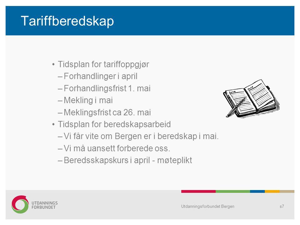 Tariffberedskap Tidsplan for tariffoppgjør –Forhandlinger i april –Forhandlingsfrist 1. mai –Mekling i mai –Meklingsfrist ca 26. mai Tidsplan for bere