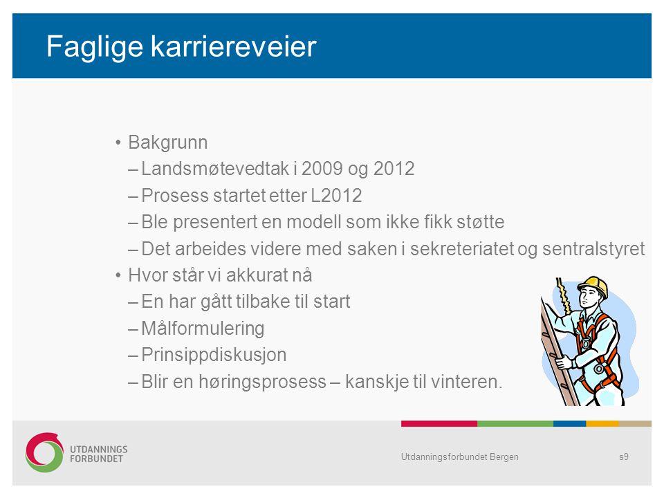 Faglige karriereveier Bakgrunn –Landsmøtevedtak i 2009 og 2012 –Prosess startet etter L2012 –Ble presentert en modell som ikke fikk støtte –Det arbeid