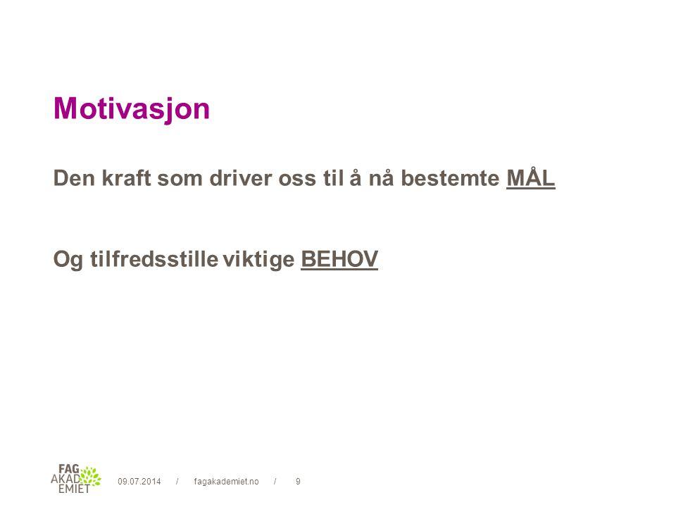 09.07.2014fagakademiet.no10// Motivasjon Å kunne utrette noe Å bli verdsatt Selve arbeidet Ansvar Anledning til vekst og evt.