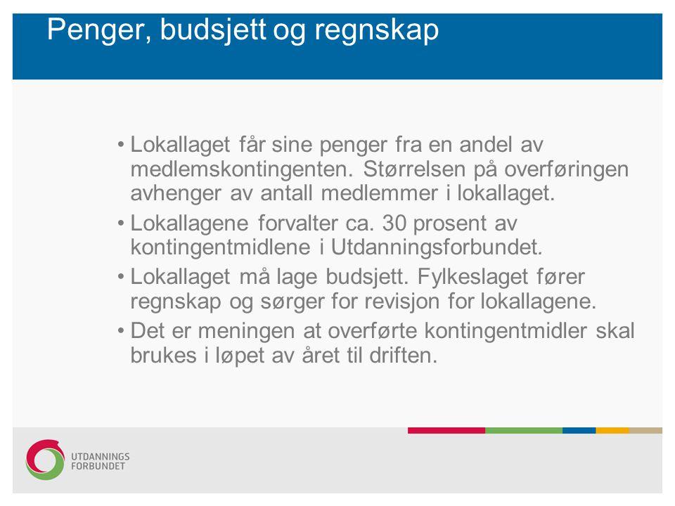 Penger, budsjett og regnskap Lokallaget får sine penger fra en andel av medlemskontingenten. Størrelsen på overføringen avhenger av antall medlemmer i
