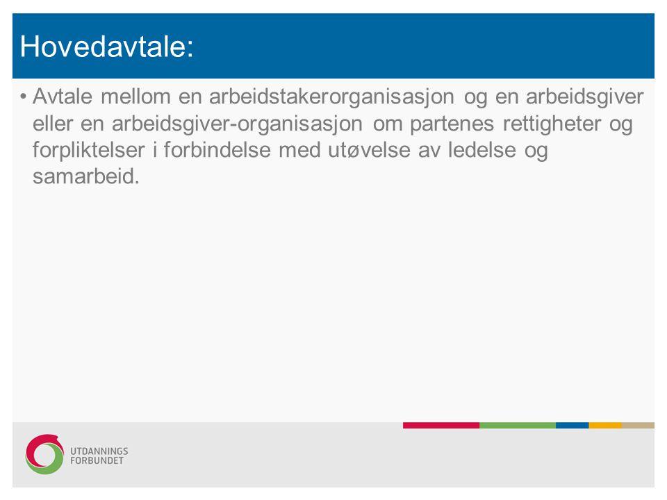Hovedavtale: Avtale mellom en arbeidstakerorganisasjon og en arbeidsgiver eller en arbeidsgiver-organisasjon om partenes rettigheter og forpliktelser