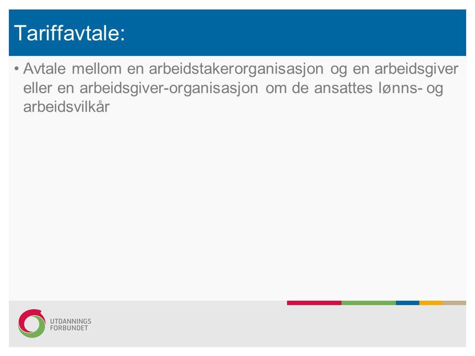 Tariffavtale: Avtale mellom en arbeidstakerorganisasjon og en arbeidsgiver eller en arbeidsgiver-organisasjon om de ansattes lønns- og arbeidsvilkår