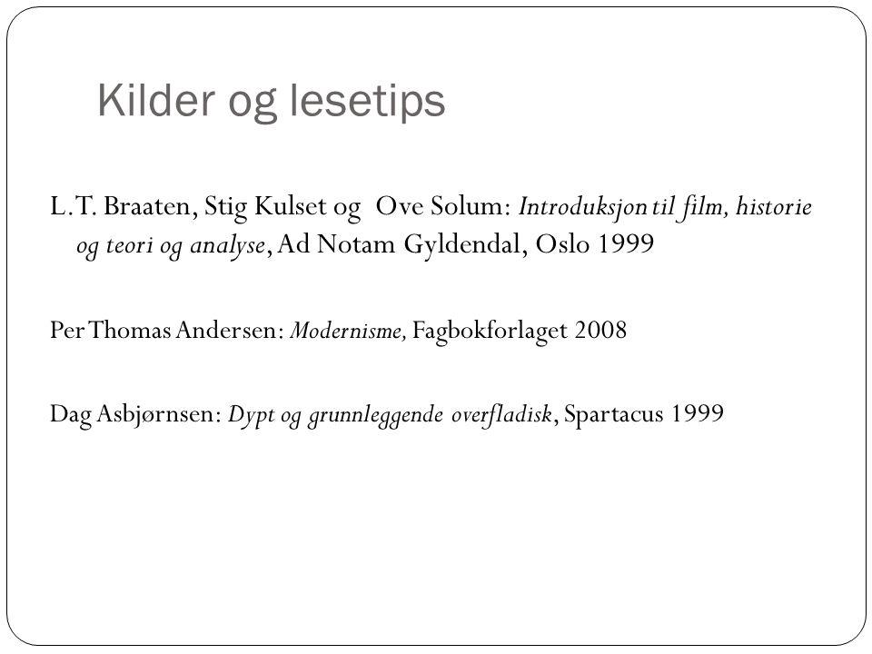 Kilder og lesetips L.T. Braaten, Stig Kulset og Ove Solum: Introduksjon til film, historie og teori og analyse, Ad Notam Gyldendal, Oslo 1999 Per Thom