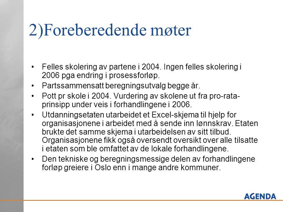 2)Foreberedende møter Felles skolering av partene i 2004.