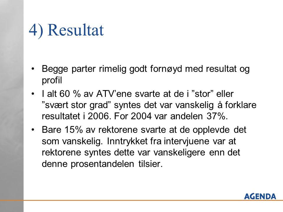 4) Resultat Begge parter rimelig godt fornøyd med resultat og profil I alt 60 % av ATV'ene svarte at de i stor eller svært stor grad syntes det var vanskelig å forklare resultatet i 2006.