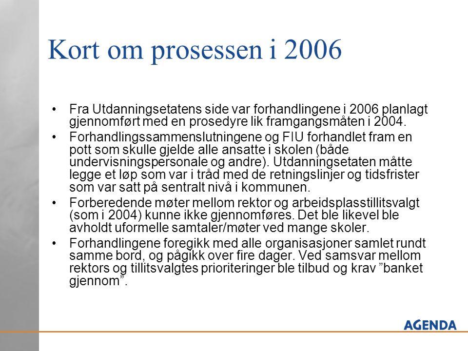 Kort om prosessen i 2006 Fra Utdanningsetatens side var forhandlingene i 2006 planlagt gjennomført med en prosedyre lik framgangsmåten i 2004.