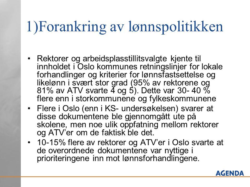 1)Forankring av lønnspolitikken Rektorer og arbeidsplasstillitsvalgte kjente til innholdet i Oslo kommunes retningslinjer for lokale forhandlinger og kriterier for lønnsfastsettelse og likelønn i svært stor grad (95% av rektorene og 81% av ATV svarte 4 og 5).