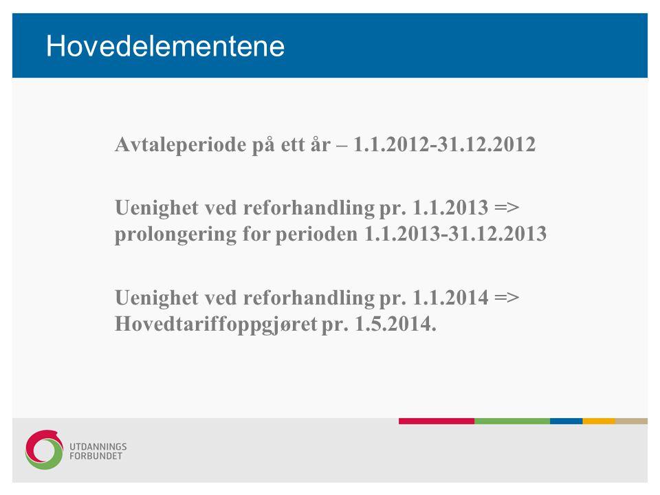 Hovedelementene Avtaleperiode på ett år – 1.1.2012-31.12.2012 Uenighet ved reforhandling pr. 1.1.2013 => prolongering for perioden 1.1.2013-31.12.2013