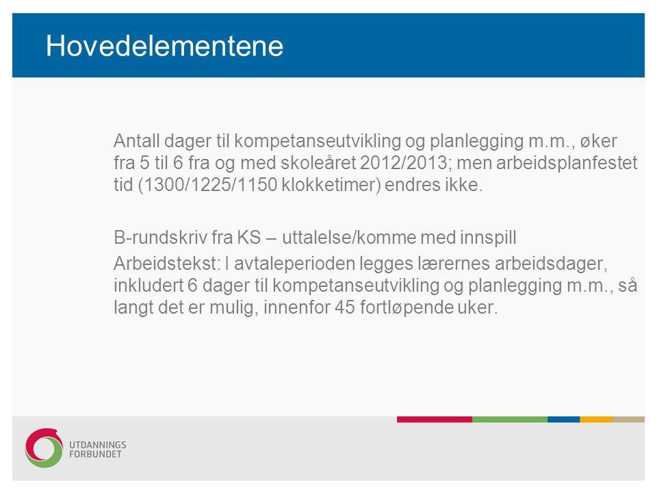 Hovedelementene Antall dager til kompetanseutvikling og planlegging m.m., øker fra 5 til 6 fra og med skoleåret 2012/2013; men arbeidsplanfestet tid (