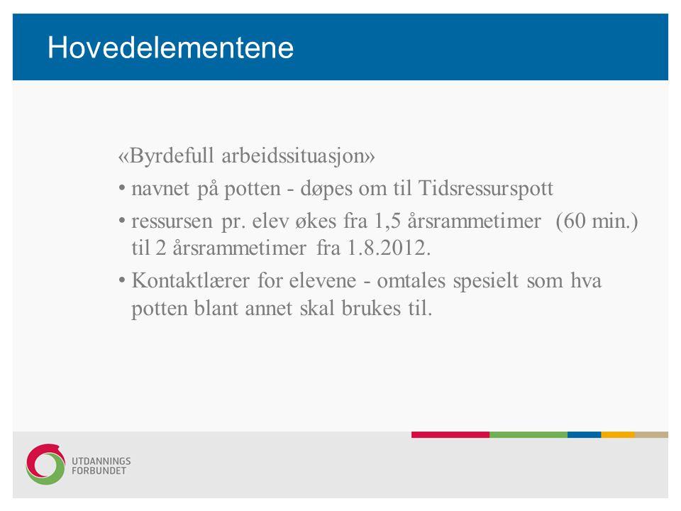 Hovedelementene «Byrdefull arbeidssituasjon» navnet på potten - døpes om til Tidsressurspott ressursen pr. elev økes fra 1,5 årsrammetimer (60 min.) t