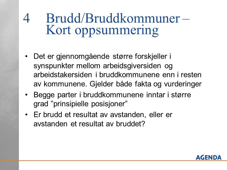4Brudd/Bruddkommuner – Kort oppsummering Det er gjennomgående større forskjeller i synspunkter mellom arbeidsgiversiden og arbeidstakersiden i bruddkommunene enn i resten av kommunene.