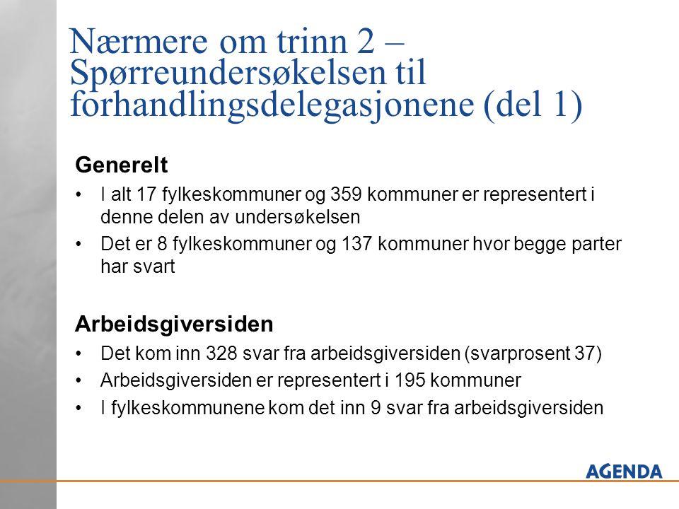 Nærmere om trinn 2 – Spørreundersøkelsen til forhandlingsdelegasjonene (del 1) Arbeidstakersiden Det kom inn 577 svar fra arbeidstakersiden (svarprosent 64) I fylkeskommunene kom det inn 25 svar fra arbeidstakersiden
