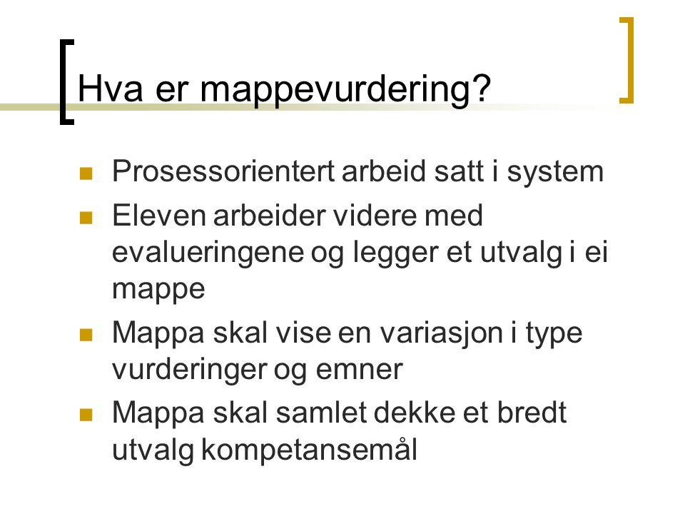 Hva er mappevurdering? Prosessorientert arbeid satt i system Eleven arbeider videre med evalueringene og legger et utvalg i ei mappe Mappa skal vise e