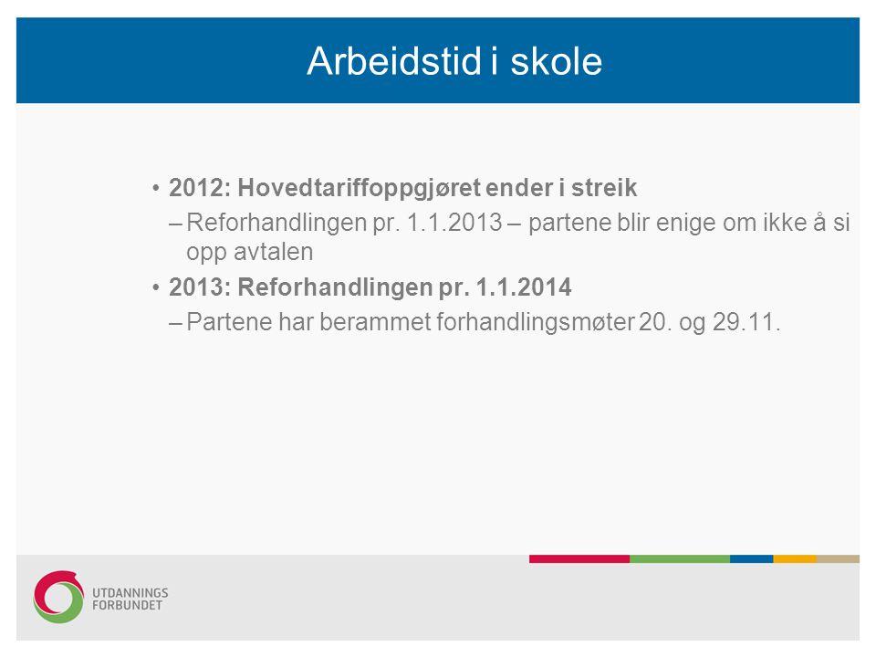Arbeidstid i skole 2012: Hovedtariffoppgjøret ender i streik –Reforhandlingen pr. 1.1.2013 – partene blir enige om ikke å si opp avtalen 2013: Reforha
