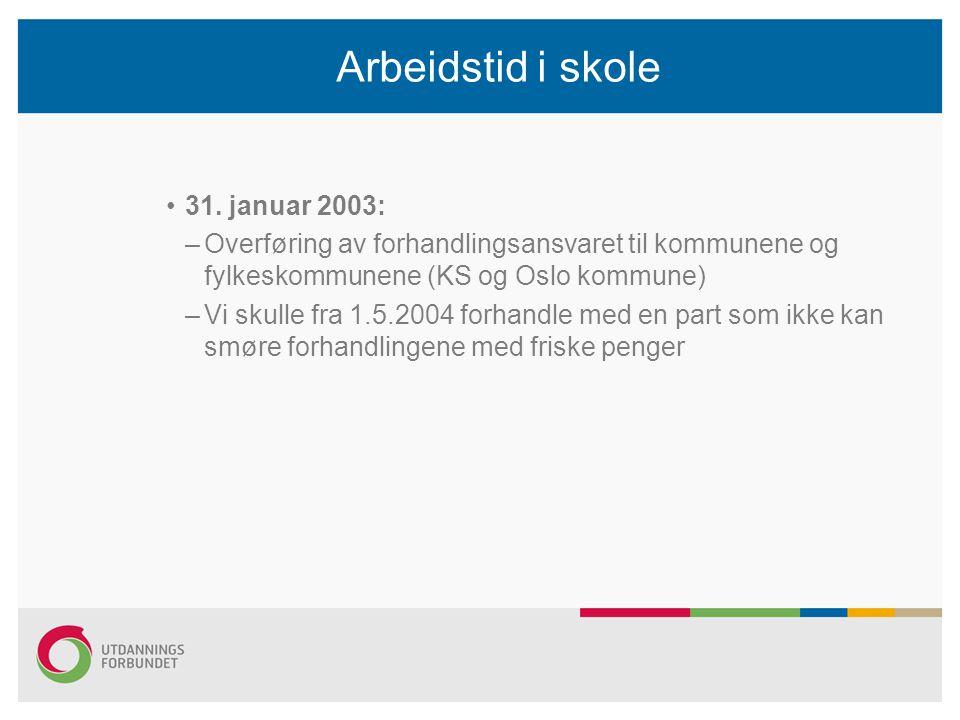 Arbeidstid i skole 31. januar 2003: –Overføring av forhandlingsansvaret til kommunene og fylkeskommunene (KS og Oslo kommune) –Vi skulle fra 1.5.2004