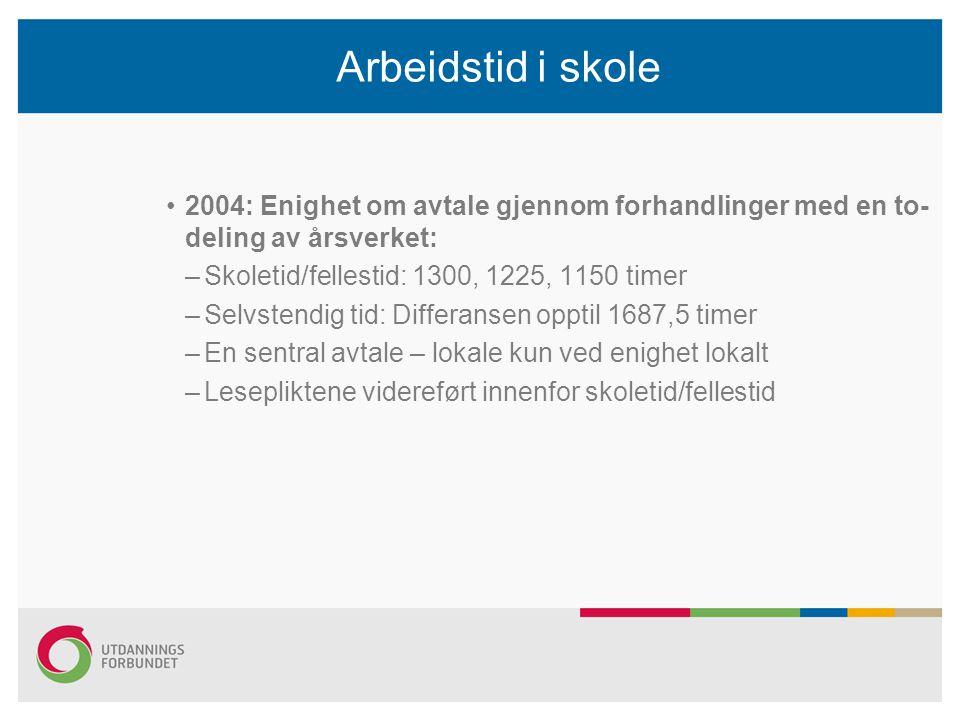 Arbeidstid i skole 2004: Enighet om avtale gjennom forhandlinger med en to- deling av årsverket: –Skoletid/fellestid: 1300, 1225, 1150 timer –Selvsten