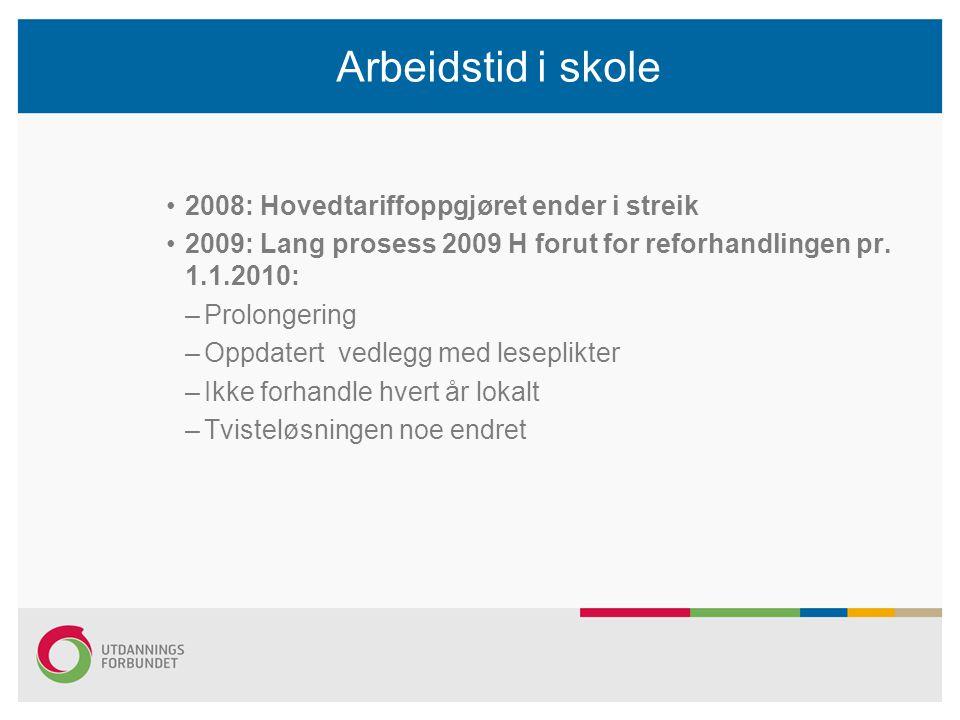Arbeidstid i skole 2008: Hovedtariffoppgjøret ender i streik 2009: Lang prosess 2009 H forut for reforhandlingen pr. 1.1.2010: –Prolongering –Oppdater