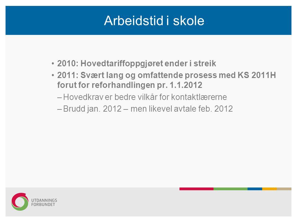 Arbeidstid i skole 2010: Hovedtariffoppgjøret ender i streik 2011: Svært lang og omfattende prosess med KS 2011H forut for reforhandlingen pr. 1.1.201