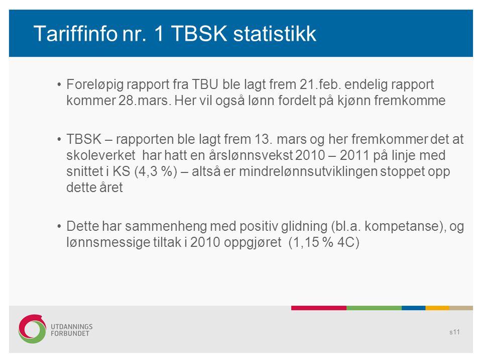 Tariffinfo nr. 1 TBSK statistikk Foreløpig rapport fra TBU ble lagt frem 21.feb. endelig rapport kommer 28.mars. Her vil også lønn fordelt på kjønn fr