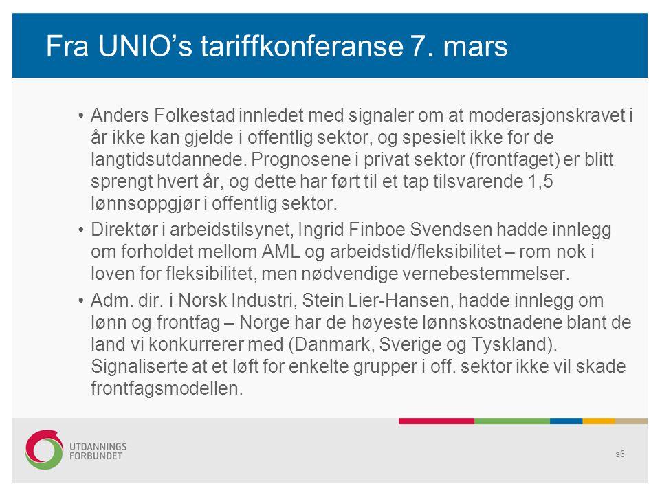 Fra UNIO's tariffkonferanse 7. mars Anders Folkestad innledet med signaler om at moderasjonskravet i år ikke kan gjelde i offentlig sektor, og spesiel