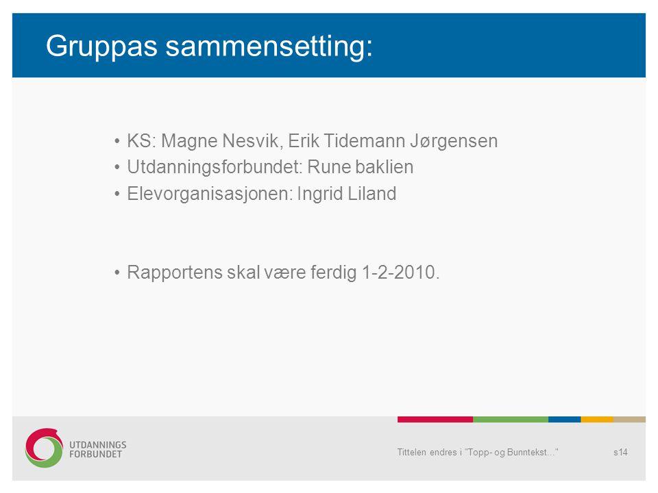 Gruppas sammensetting: KS: Magne Nesvik, Erik Tidemann Jørgensen Utdanningsforbundet: Rune baklien Elevorganisasjonen: Ingrid Liland Rapportens skal v