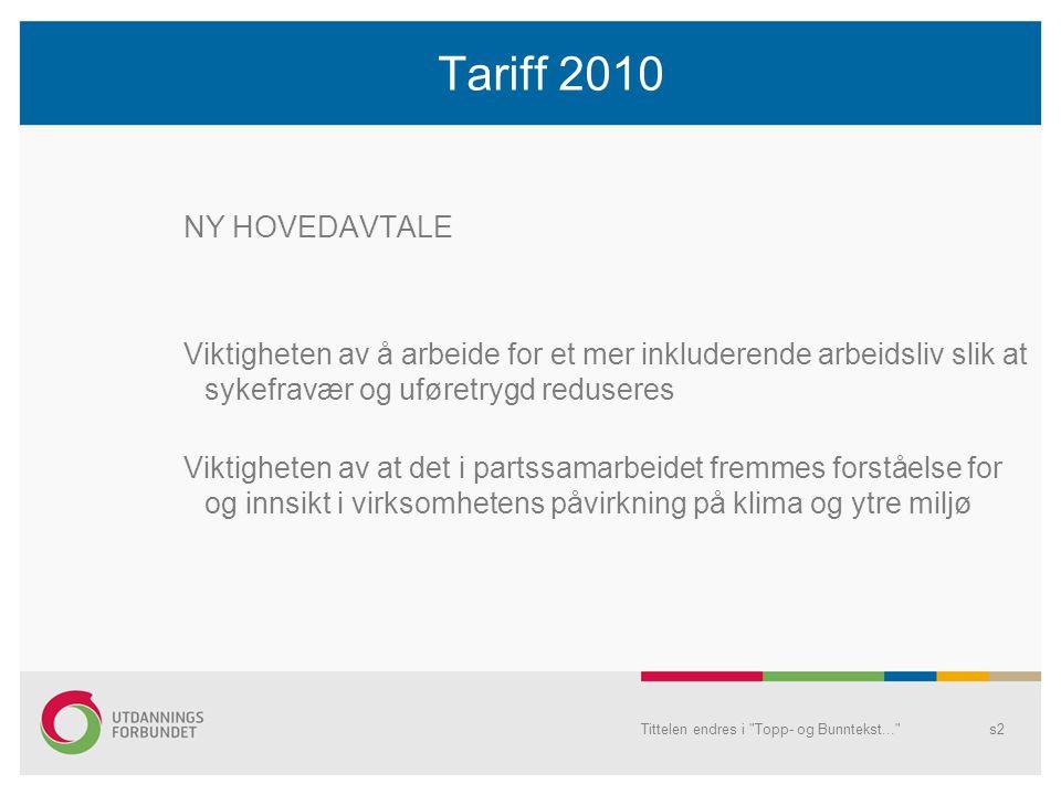 Tittelen endres i Topp- og Bunntekst... s2 Tariff 2010 NY HOVEDAVTALE Viktigheten av å arbeide for et mer inkluderende arbeidsliv slik at sykefravær og uføretrygd reduseres Viktigheten av at det i partssamarbeidet fremmes forståelse for og innsikt i virksomhetens påvirkning på klima og ytre miljø